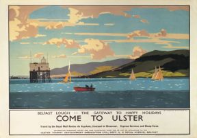 Come To Ulster, Belfast Lough, County Antrim, Northern Ireland. Irish Railway Travel Poster by Norman Wilkinson.